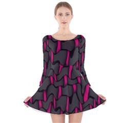 Weave And Knit Pattern Seamless Background Long Sleeve Velvet Skater Dress