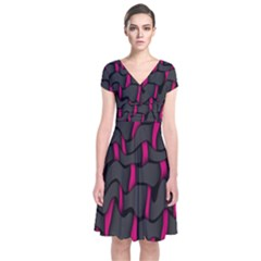 Weave And Knit Pattern Seamless Background Short Sleeve Front Wrap Dress