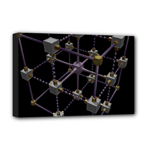 Grid Construction Structure Metal Deluxe Canvas 18  x 12