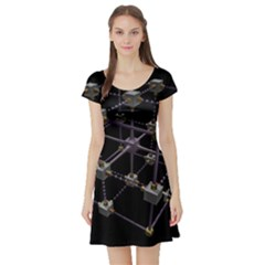 Grid Construction Structure Metal Short Sleeve Skater Dress