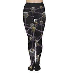 Grid Construction Structure Metal Women s Tights