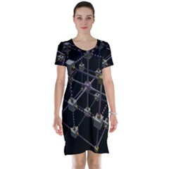 Grid Construction Structure Metal Short Sleeve Nightdress