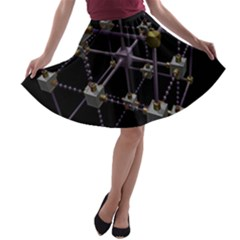 Grid Construction Structure Metal A Line Skater Skirt