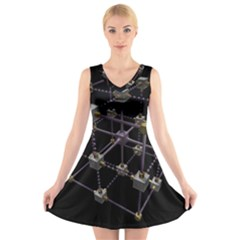 Grid Construction Structure Metal V Neck Sleeveless Skater Dress