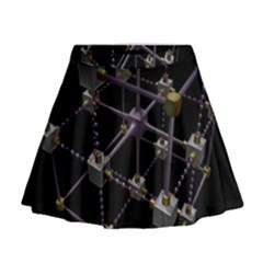 Grid Construction Structure Metal Mini Flare Skirt