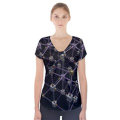 Grid Construction Structure Metal Short Sleeve Front Detail Top