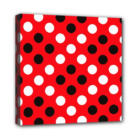 Red & Black Polka Dot Pattern Mini Canvas 8  x 8