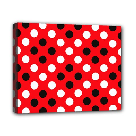 Red & Black Polka Dot Pattern Canvas 10  x 8