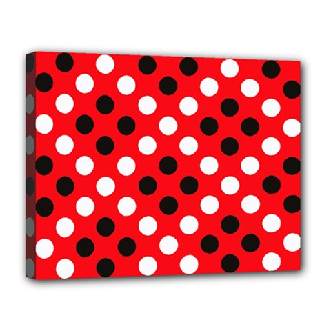 Red & Black Polka Dot Pattern Canvas 14  x 11