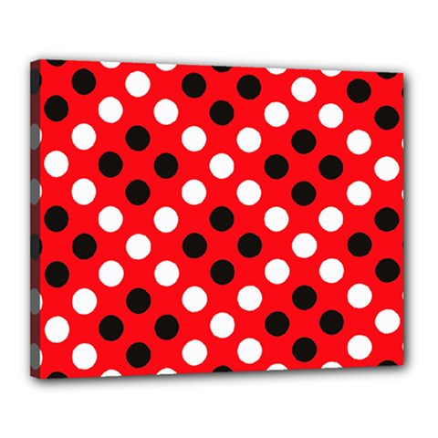Red & Black Polka Dot Pattern Canvas 20  x 16
