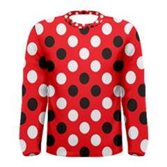 Red & Black Polka Dot Pattern Men s Long Sleeve Tee