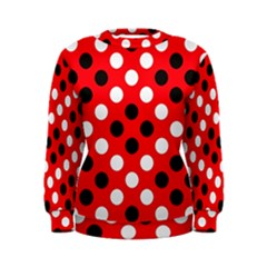 Red & Black Polka Dot Pattern Women s Sweatshirt