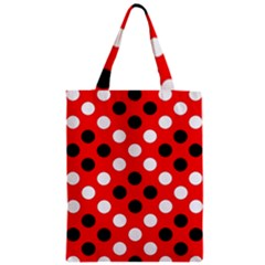 Red & Black Polka Dot Pattern Zipper Classic Tote Bag