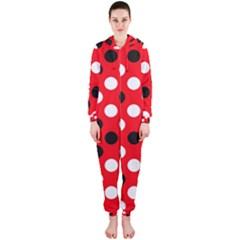Red & Black Polka Dot Pattern Hooded Jumpsuit (ladies)