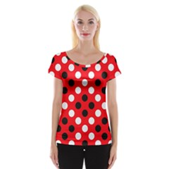 Red & Black Polka Dot Pattern Women s Cap Sleeve Top