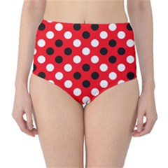 Red & Black Polka Dot Pattern High-Waist Bikini Bottoms