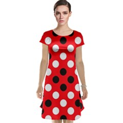 Red & Black Polka Dot Pattern Cap Sleeve Nightdress