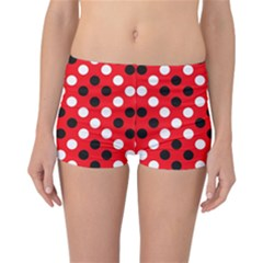 Red & Black Polka Dot Pattern Reversible Bikini Bottoms
