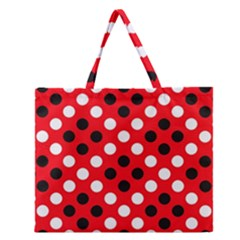 Red & Black Polka Dot Pattern Zipper Large Tote Bag
