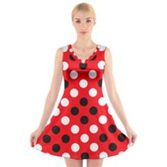 Red & Black Polka Dot Pattern V Neck Sleeveless Skater Dress