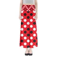 Red & Black Polka Dot Pattern Maxi Skirts