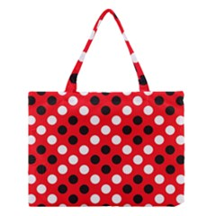 Red & Black Polka Dot Pattern Medium Tote Bag