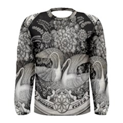 Swans Floral Pattern Vintage Men s Long Sleeve Tee