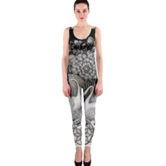 Swans Floral Pattern Vintage OnePiece Catsuit