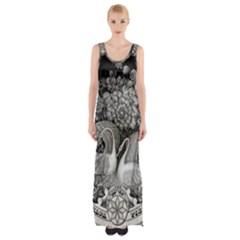 Swans Floral Pattern Vintage Maxi Thigh Split Dress