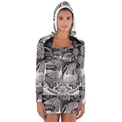 Swans Floral Pattern Vintage Women s Long Sleeve Hooded T-shirt