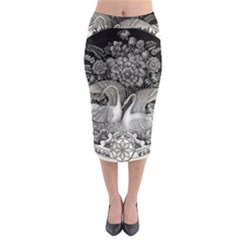 Swans Floral Pattern Vintage Midi Pencil Skirt