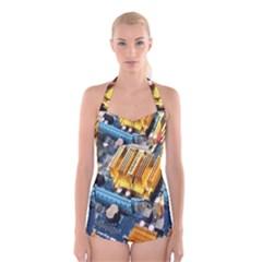 Technology Computer Chips Gigabyte Boyleg Halter Swimsuit