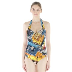 Technology Computer Chips Gigabyte Halter Swimsuit