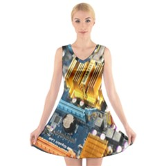 Technology Computer Chips Gigabyte V Neck Sleeveless Skater Dress