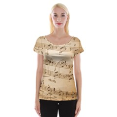 Music Notes Background Women s Cap Sleeve Top