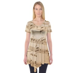 Music Notes Background Short Sleeve Tunic