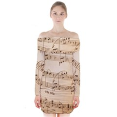 Music Notes Background Long Sleeve Off Shoulder Dress