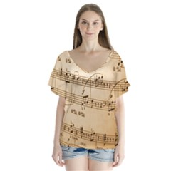 Music Notes Background Flutter Sleeve Top
