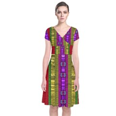 A Gift From The Rainbow In The Sky Short Sleeve Front Wrap Dress