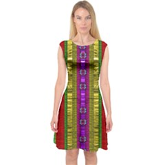 A Gift From The Rainbow In The Sky Capsleeve Midi Dress