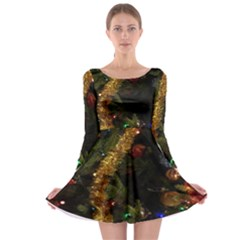 Night Xmas Decorations Lights  Long Sleeve Skater Dress