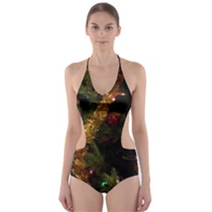 Night Xmas Decorations Lights  Cut-Out One Piece Swimsuit