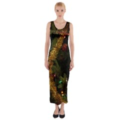 Night Xmas Decorations Lights  Fitted Maxi Dress