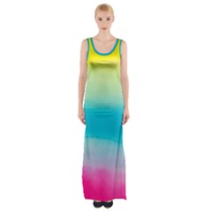 Watercolour Gradient Maxi Thigh Split Dress