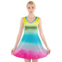 Watercolour Gradient V Neck Sleeveless Skater Dress