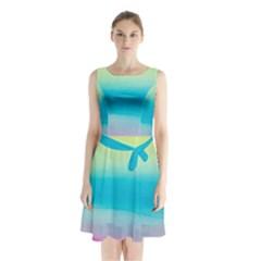 Watercolour Gradient Sleeveless Chiffon Waist Tie Dress