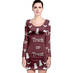 Halloween Free Card Trick Or Treat Long Sleeve Bodycon Dress