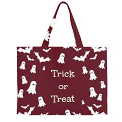 Halloween Free Card Trick Or Treat Zipper Large Tote Bag