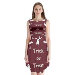 Halloween Free Card Trick Or Treat Sleeveless Chiffon Dress