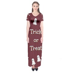 Halloween Free Card Trick Or Treat Short Sleeve Maxi Dress